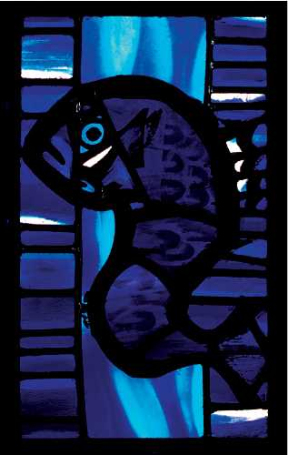 Folke Heybroek, Fish - Stained Glass Front Window, leaded glass, 33 x 47cm
